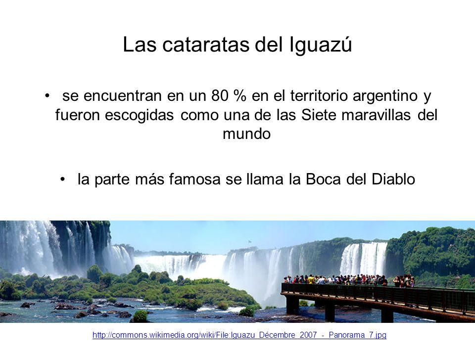 Las cataratas del Iguazú se encuentran en un 80 % en el territorio argentino y fueron escogidas como una de las Siete maravillas del mundo la parte más famosa se llama la Boca del Diablo http://commons.wikimedia.org/wiki/File:Iguazu_Décembre_2007_-_Panorama_7.jpg