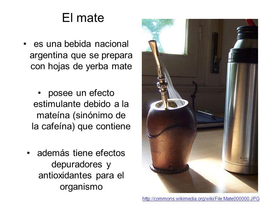 El mate es una bebida nacional argentina que se prepara con hojas de yerba mate posee un efecto estimulante debido a la mateína (sinónimo de la cafeína) que contiene además tiene efectos depuradores y antioxidantes para el organismo http://commons.wikimedia.org/wiki/File:Mate000000.JPG