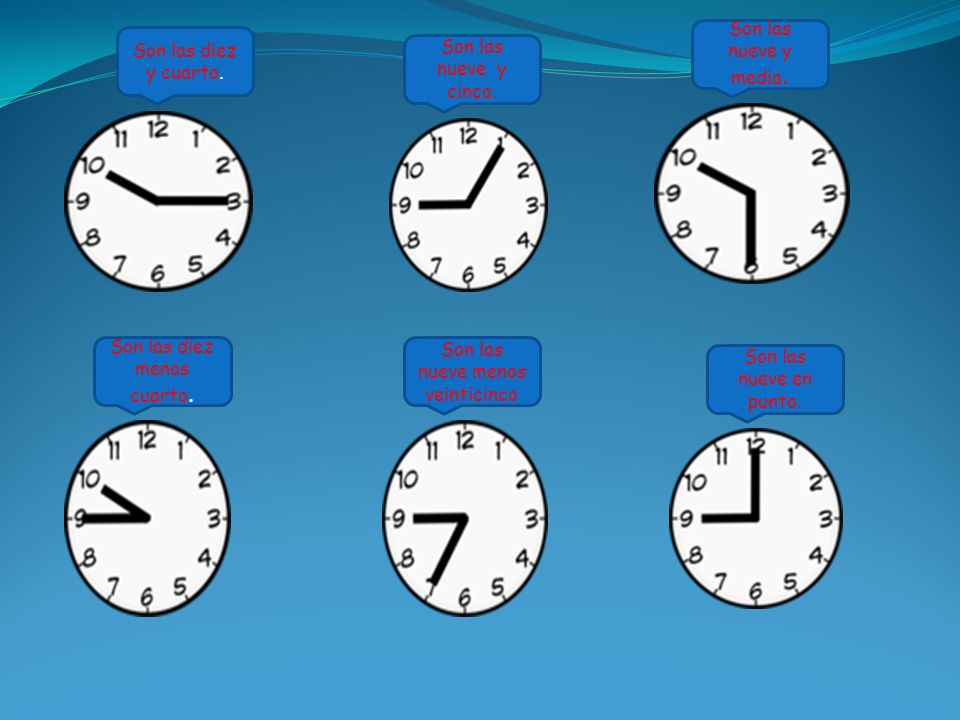 Son las diez y cuarto. Son las nueve y cinco. Son las nueve y media.