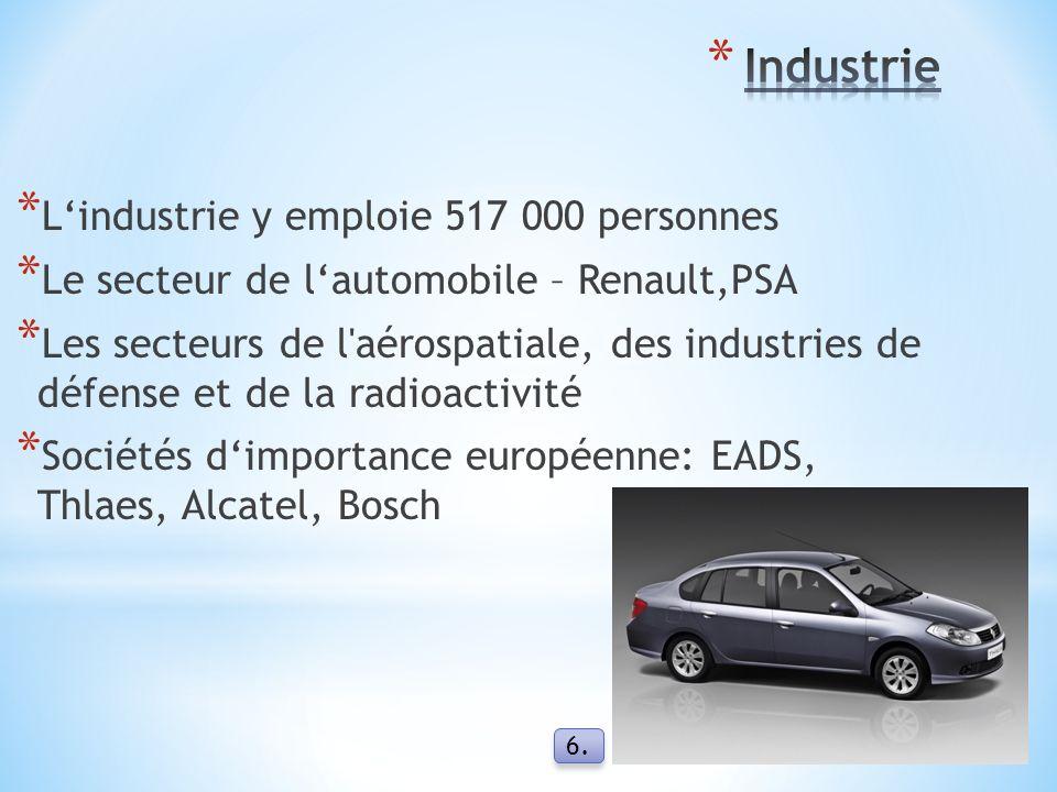 * L'industrie y emploie 517 000 personnes * Le secteur de l'automobile – Renault,PSA * Les secteurs de l aérospatiale, des industries de défense et de la radioactivité * Sociétés d'importance européenne: EADS, Thlaes, Alcatel, Bosch 6.