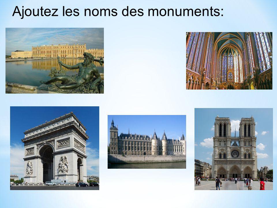 Ajoutez les noms des monuments: