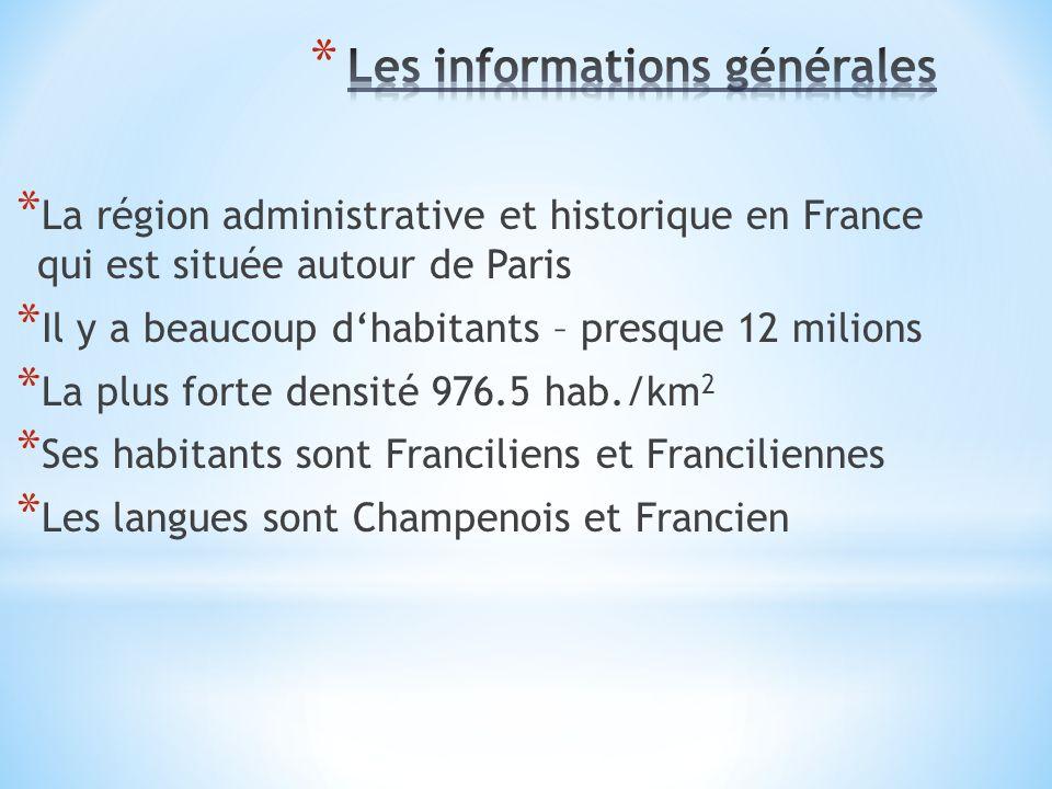 * La région administrative et historique en France qui est située autour de Paris * Il y a beaucoup d'habitants – presque 12 milions * La plus forte densité 976.5 hab./km 2 * Ses habitants sont Franciliens et Franciliennes * Les langues sont Champenois et Francien