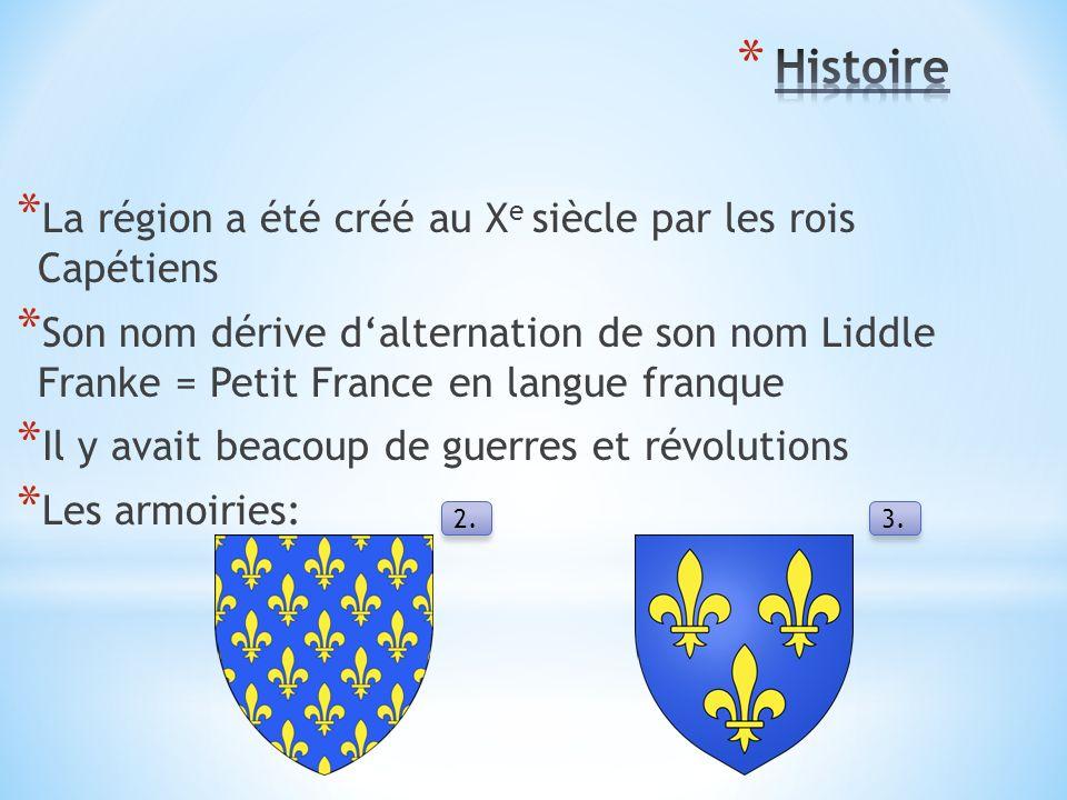 * La région a été créé au X e siècle par les rois Capétiens * Son nom dérive d'alternation de son nom Liddle Franke = Petit France en langue franque * Il y avait beacoup de guerres et révolutions * Les armoiries: 2.3.