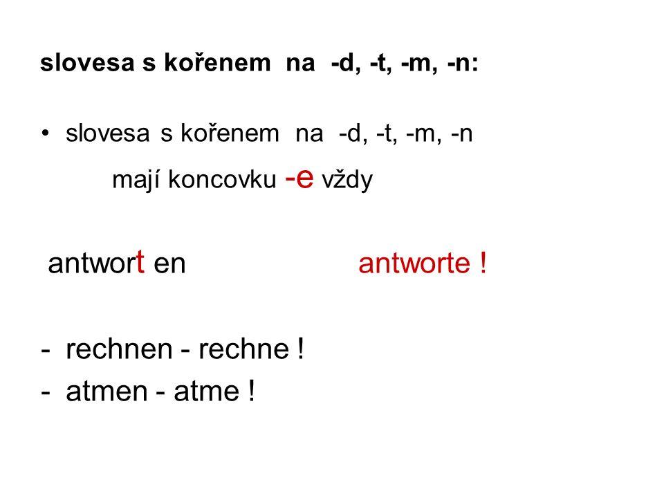 slovesa s kořenem na -d, -t, -m, -n: slovesa s kořenem na -d, -t, -m, -n mají koncovku -e vždy antwor t en antworte .