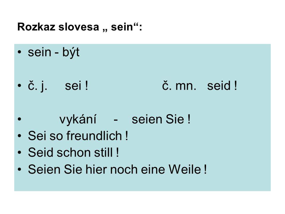 "Rozkaz slovesa "" sein : sein - být č. j. sei . č."