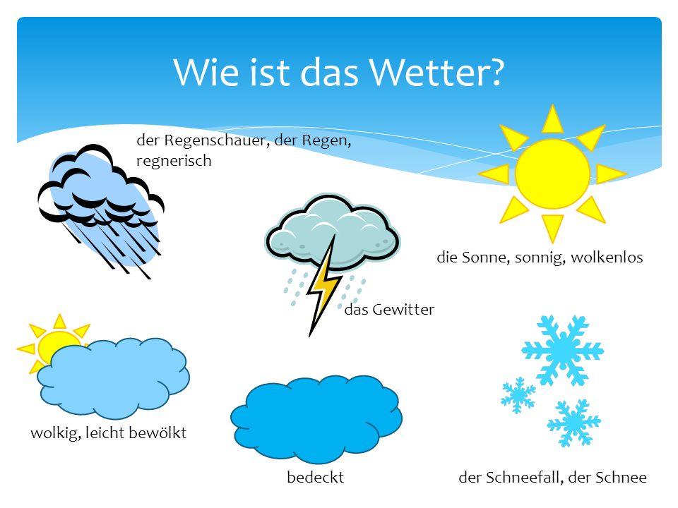 Wie ist das Wetter? die Sonne, sonnig, wolkenlos bedeckt das Gewitter der Schneefall, der Schnee der Regenschauer, der Regen, regnerisch wolkig, leich