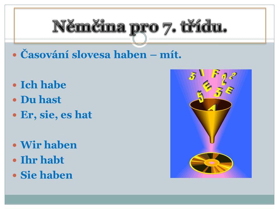 Časování slovesa haben – mít. Ich habe Du hast Er, sie, es hat Wir haben Ihr habt Sie haben