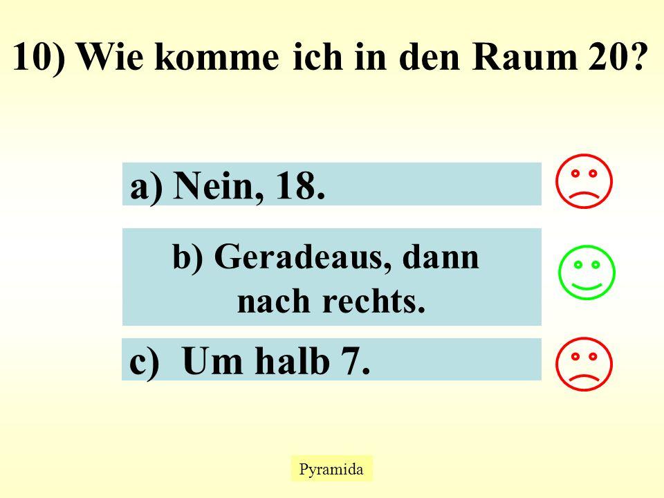 Pyramida 10) Wie komme ich in den Raum 20. a) Nein, 18.
