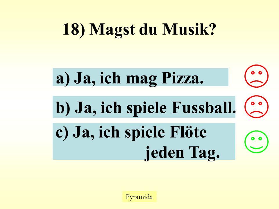 Pyramida 18) Magst du Musik. a) Ja, ich mag Pizza.