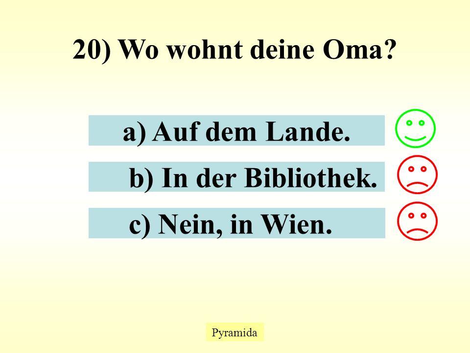 Pyramida 20) Wo wohnt deine Oma? a) Auf dem Lande. b) In der Bibliothek. c) Nein, in Wien.