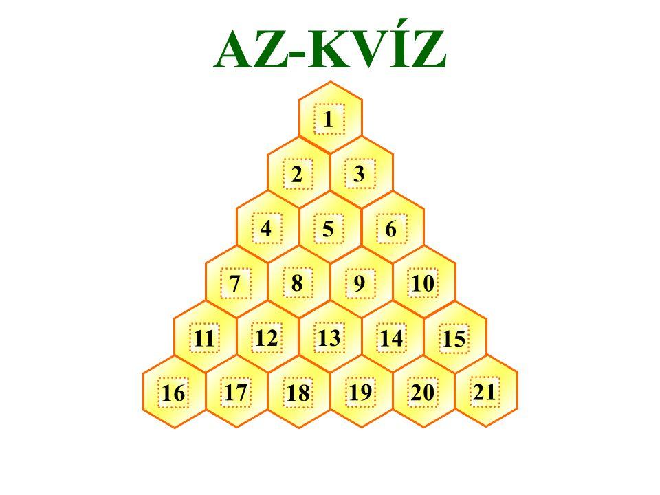 1 2 3 5 4 7 8 12 6 9 10 14 13 18 19 11 16 1720 21 15 AZ-KVÍZ