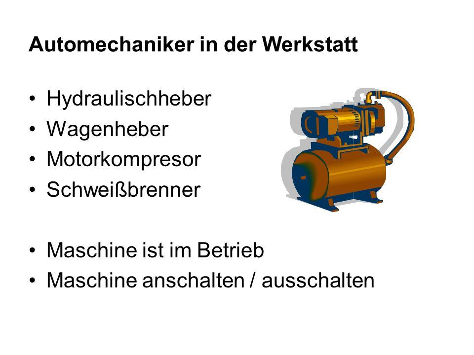 Automechaniker in der Werkstatt Hydraulischheber Wagenheber Motorkompresor Schweißbrenner Maschine ist im Betrieb Maschine anschalten / ausschalten