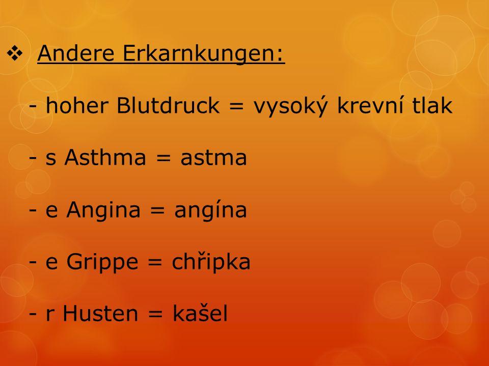  Andere Erkarnkungen: - hoher Blutdruck = vysoký krevní tlak - s Asthma = astma - e Angina = angína - e Grippe = chřipka - r Husten = kašel