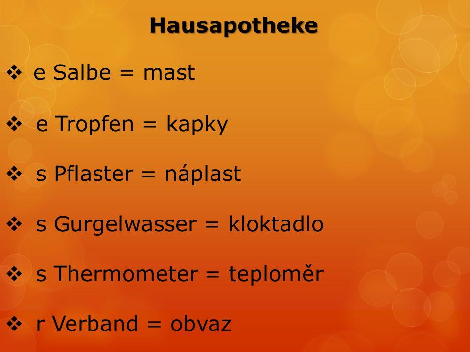  e Salbe = mast  e Tropfen = kapky  s Pflaster = náplast  s Gurgelwasser = kloktadlo  s Thermometer = teploměr  r Verband = obvaz Hausapotheke