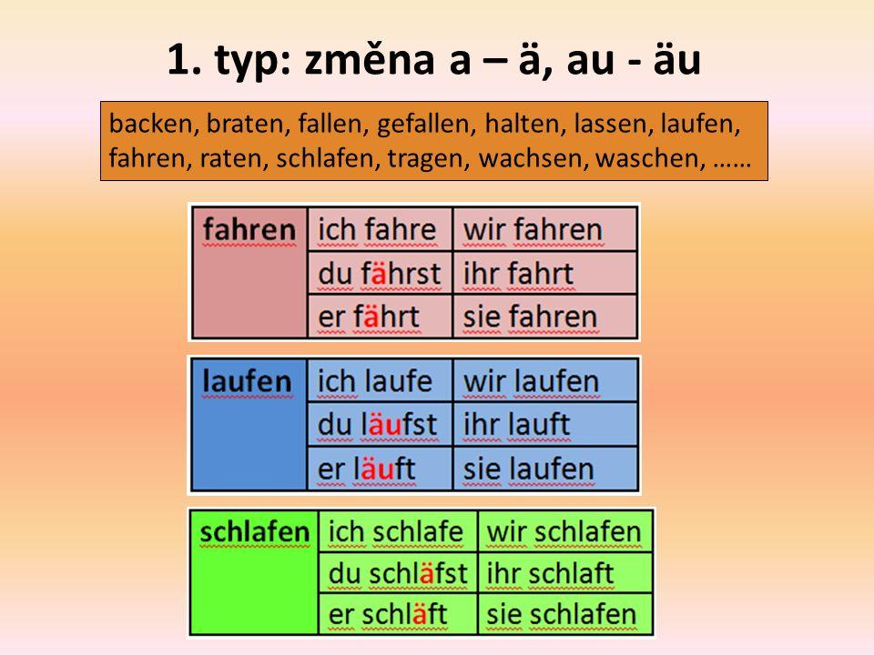 1. typ: změna a – ä, au - äu backen, braten, fallen, gefallen, halten, lassen, laufen, fahren, raten, schlafen, tragen, wachsen, waschen, ……