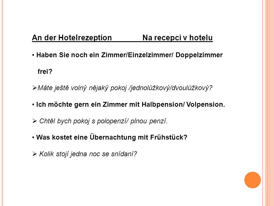 An der Hotelrezeption Na recepci v hotelu Haben Sie noch ein Zimmer/Einzelzimmer/ Doppelzimmer frei.