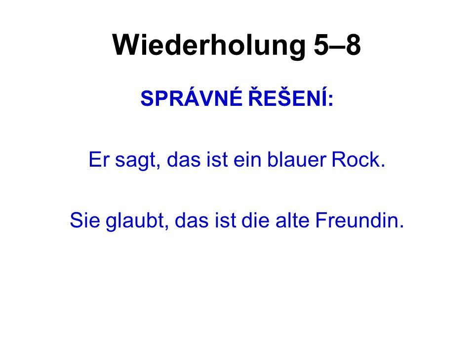 Wiederholung 5–8 SPRÁVNÉ ŘEŠENÍ: Er sagt, das ist ein blauer Rock.