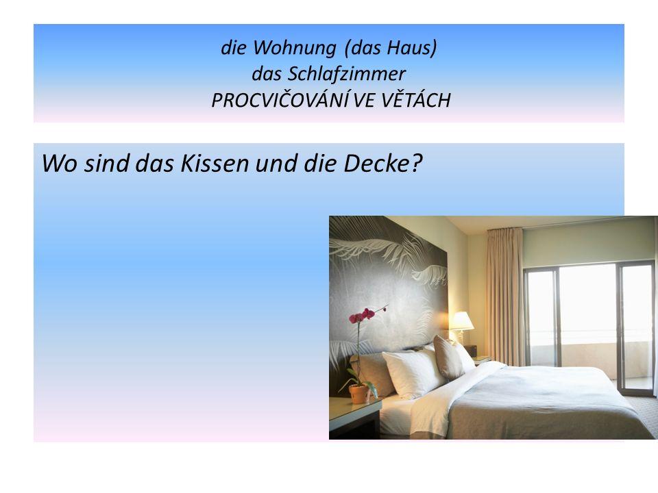 die Wohnung (das Haus) das Schlafzimmer PROCVIČOVÁNÍ VE VĚTÁCH Wo sind das Kissen und die Decke?