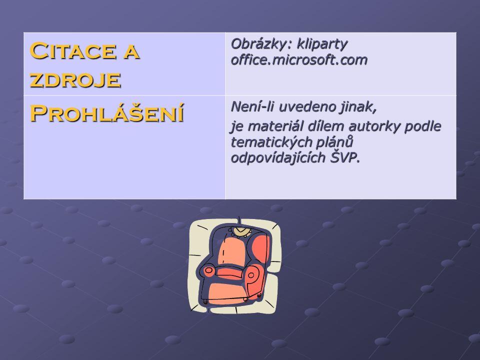 Citace a zdroje Obrázky: kliparty office.microsoft.com Prohlášení Není-li uvedeno jinak, je materiál dílem autorky podle tematických plánů odpovídajících ŠVP.