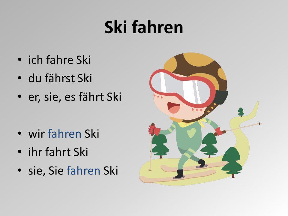 ich fahre Ski du fährst Ski er, sie, es fährt Ski wir fahren Ski ihr fahrt Ski sie, Sie fahren Ski