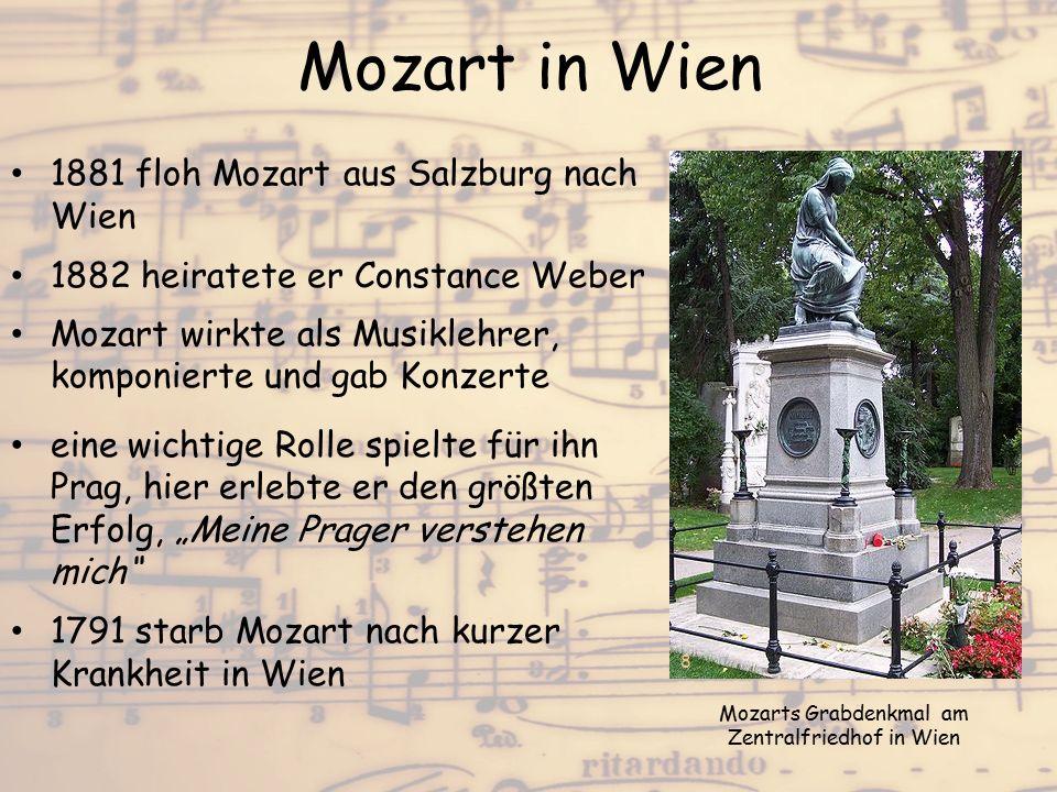 Mozart in Wien 1881 floh Mozart aus Salzburg nach Wien 1882 heiratete er Constance Weber Mozart wirkte als Musiklehrer, komponierte und gab Konzerte e