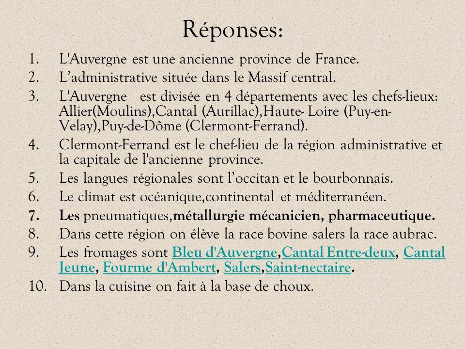 Réponses: 1.L'Auvergne est une ancienne province de France. 2.L'administrative située dans le Massif central. 3.L'Auvergne est divisée en 4 départemen