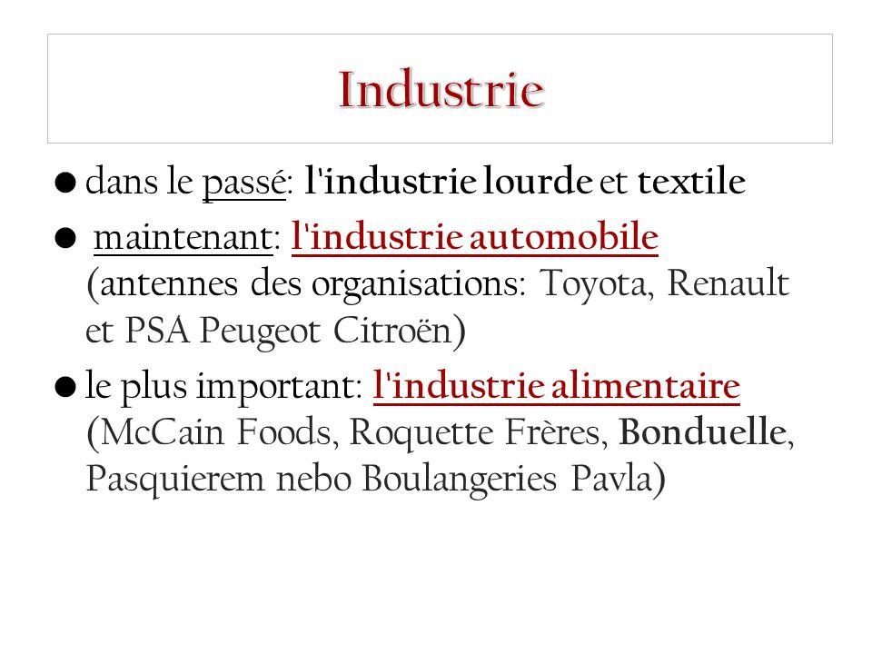 dans le passé: l industrie lourde et textile maintenant: l industrie automobile (antennes des organisations: Toyota, Renault et PSA Peugeot Citroën) le plus important: l industrie alimentaire (McCain Foods, Roquette Frères, Bonduelle, Pasquierem nebo Boulangeries Pavla)