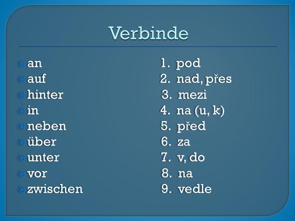  an 1. pod  auf 2. nad, p ř es  hinter 3. mezi  in 4.