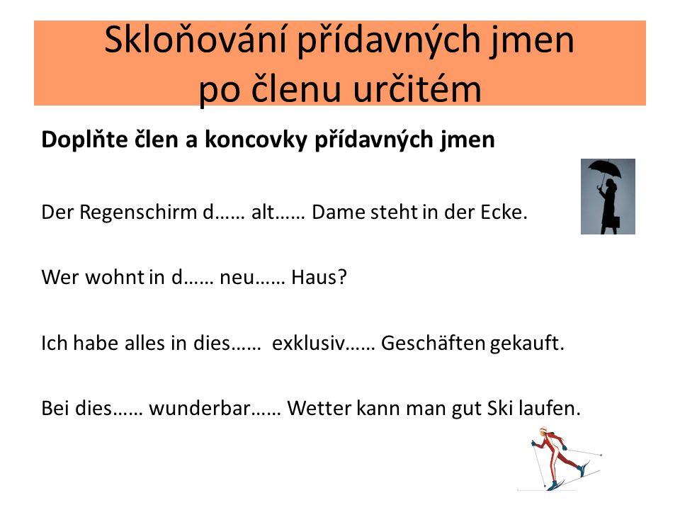 Skloňování přídavných jmen po členu určitém Doplňte člen a koncovky přídavných jmen Der Regenschirm d…… alt…… Dame steht in der Ecke. Wer wohnt in d……