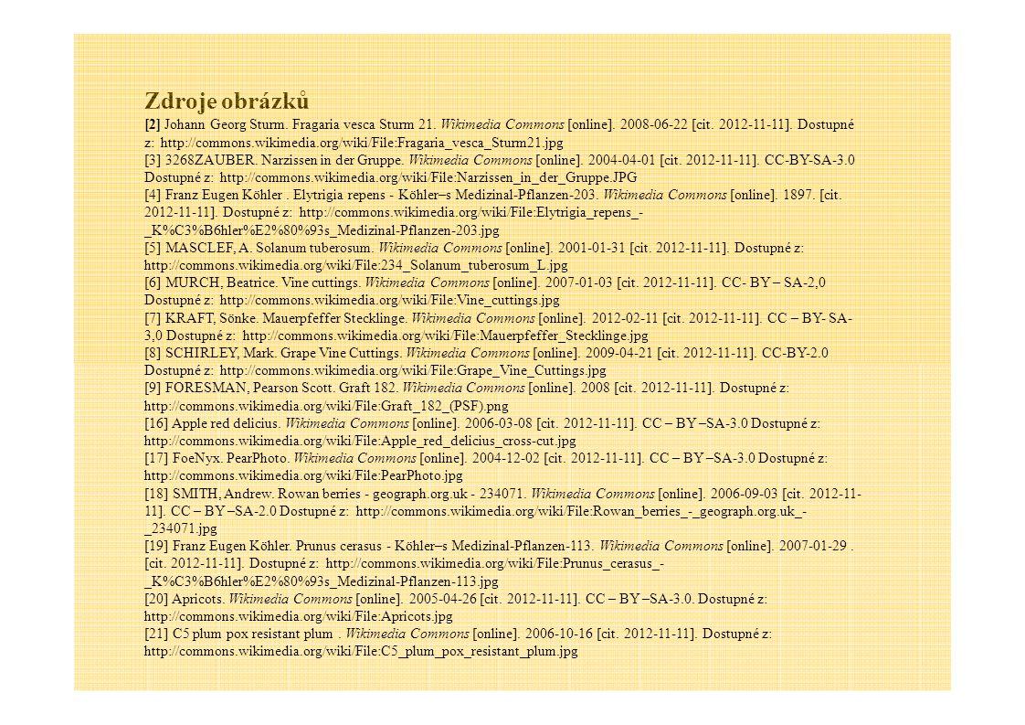 Zdroje obrázků [2] Johann Georg Sturm. Fragaria vesca Sturm 21. Wikimedia Commons [online]. 2008-06-22 [cit. 2012-11-11]. Dostupné z: http://commons.w