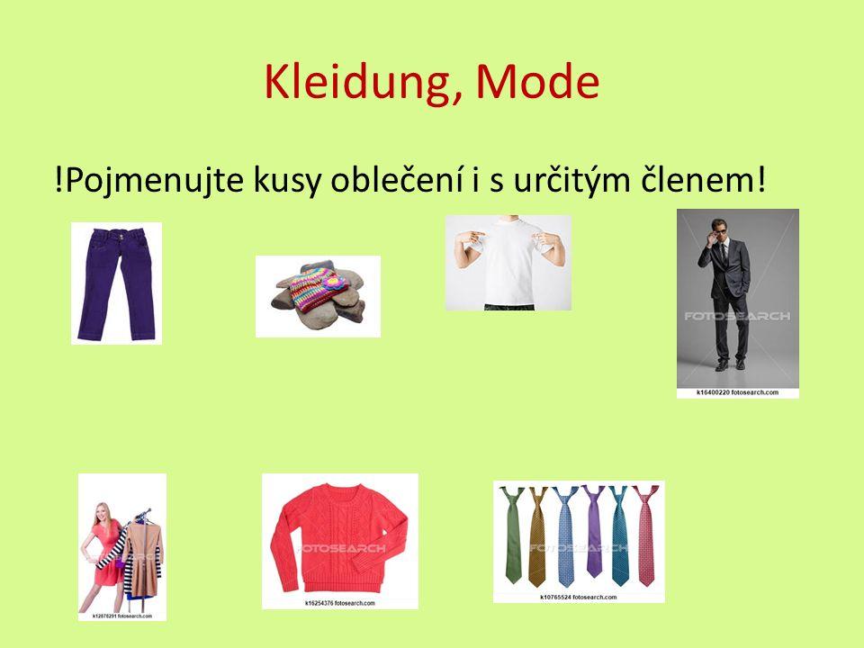 Řešení: die Hose die Mütze das T-Shirt der Anzug (die Jeans) das Kleid der Pullover die Krawatte (die Kleider) (der Pulli) (die Krawatten)