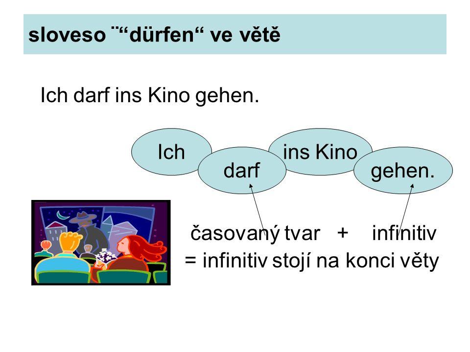 """sloveso ¨""""dürfen"""" ve větě Ich darf ins Kino gehen. časovaný tvar + infinitiv = infinitiv stojí na konci věty ins KinoIch darfgehen."""
