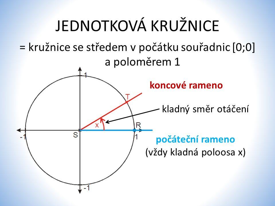 JEDNOTKOVÁ KRUŽNICE = kružnice se středem v počátku souřadnic [0;0] a poloměrem 1 počáteční rameno (vždy kladná poloosa x) koncové rameno kladný směr