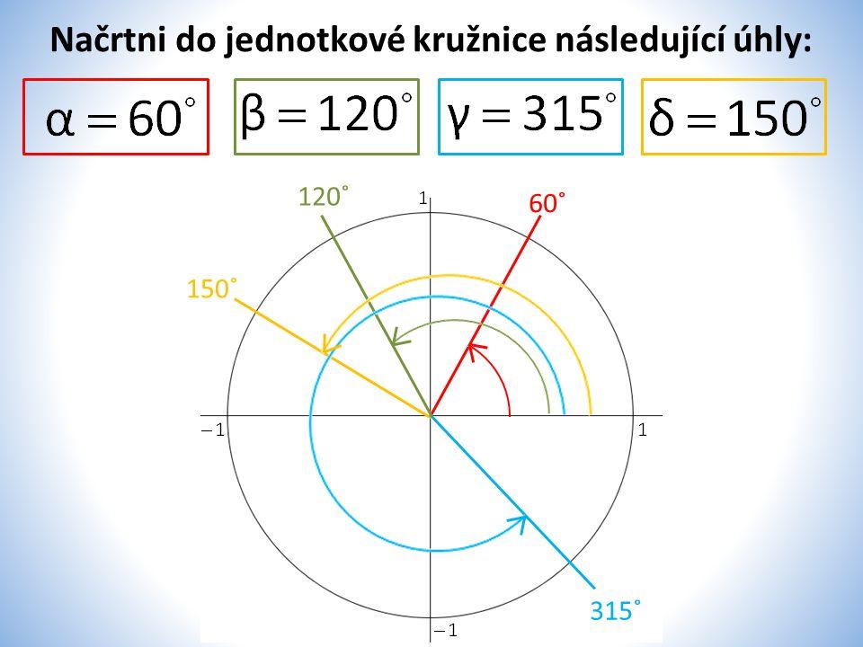 Načrtni do jednotkové kružnice následující úhly: 60˚ 120˚ 315˚ 150˚