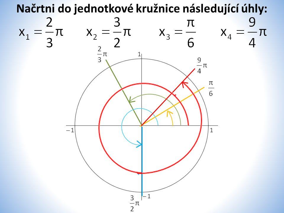 Načrtni do jednotkové kružnice následující úhly: