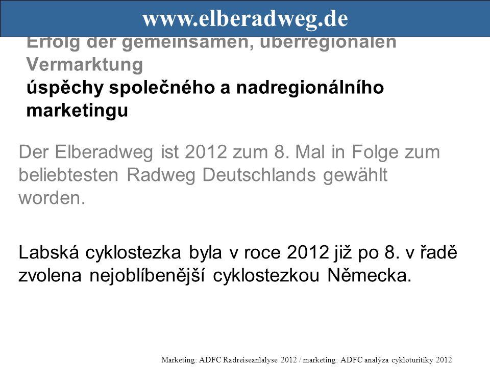 Erfolg der gemeinsamen, überregionalen Vermarktung úspěchy společného a nadregionálního marketingu Der Elberadweg ist 2012 zum 8.