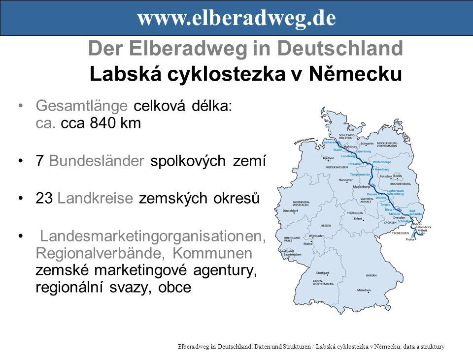 Der Elberadweg in Deutschland Labská cyklostezka v Německu Gesamtlänge celková délka: ca.