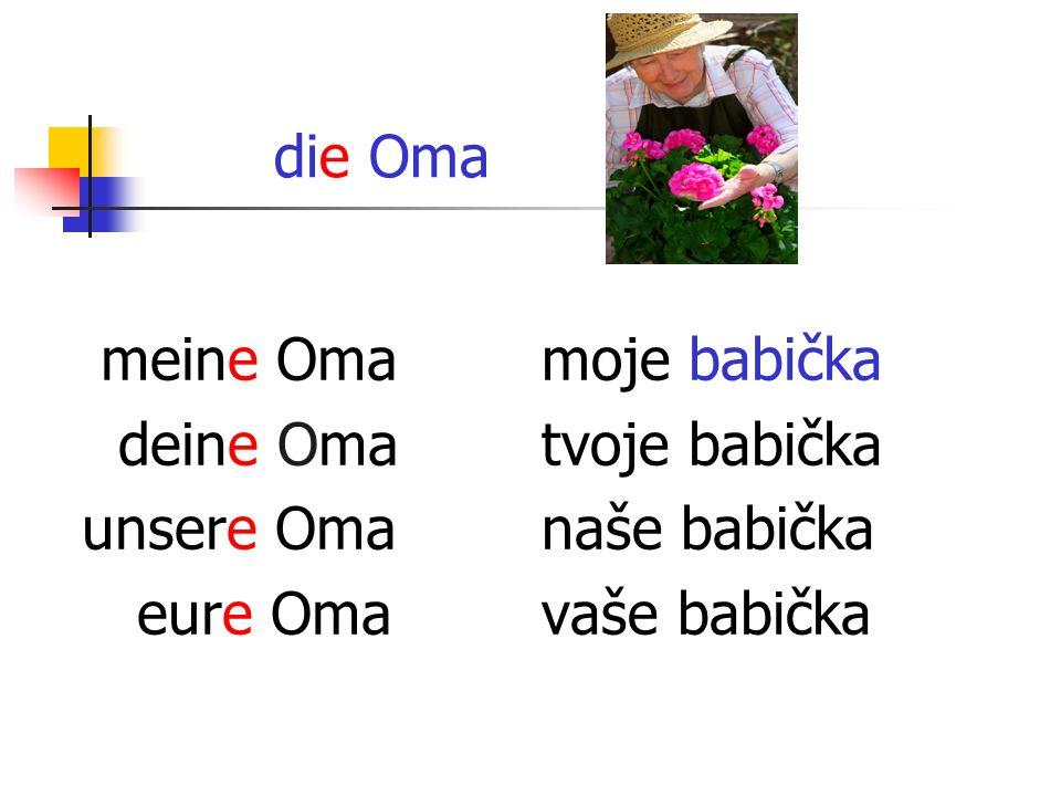 die Oma meine Oma deine Oma unsere Oma eure Oma moje babička tvoje babička naše babička vaše babička