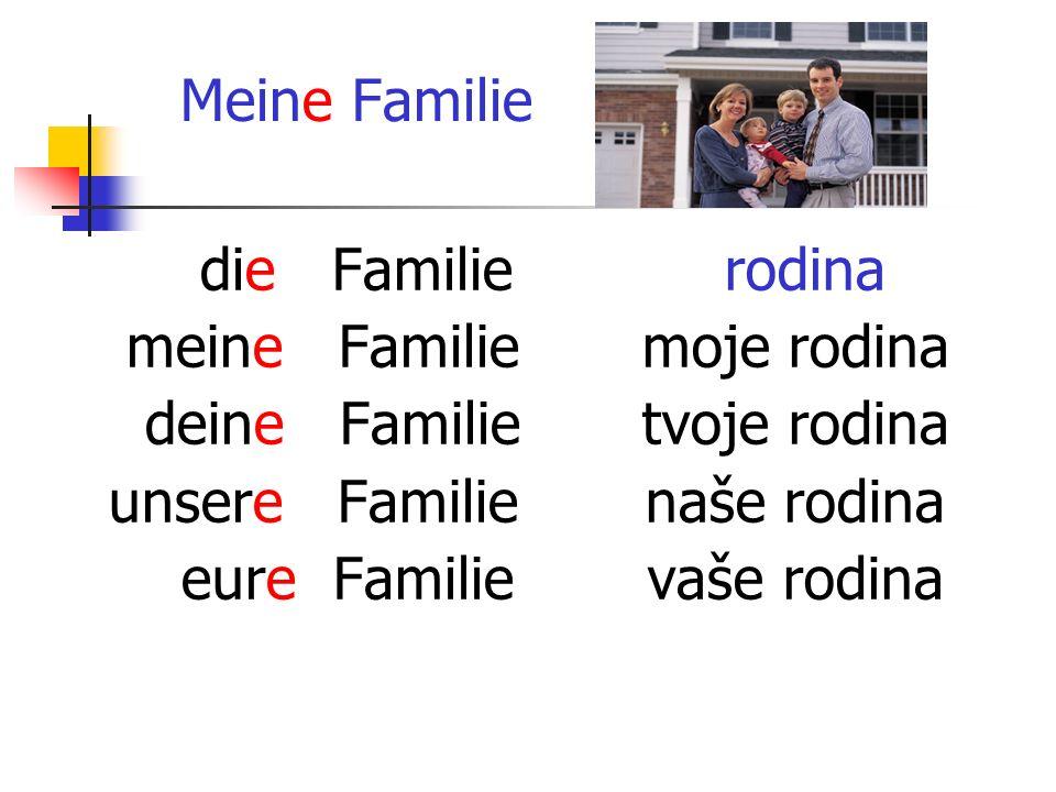 Meine Familie die Familie meine Familie deine Familie unsere Familie eure Familie rodina moje rodina tvoje rodina naše rodina vaše rodina