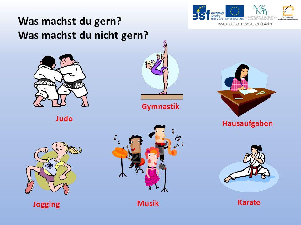 Was machst du gern? Was machst du nicht gern? Judo Gymnastik Jogging Hausaufgaben Musik Karate