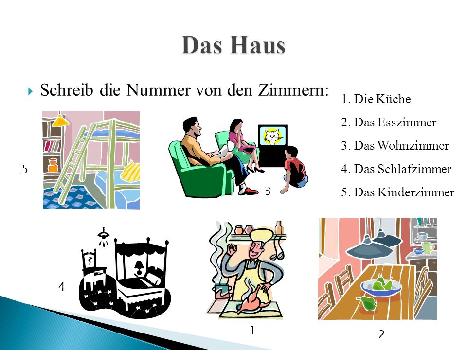  Schreib die Nummer von den Zimmern: 1.Das Arbeitszimmer 2.
