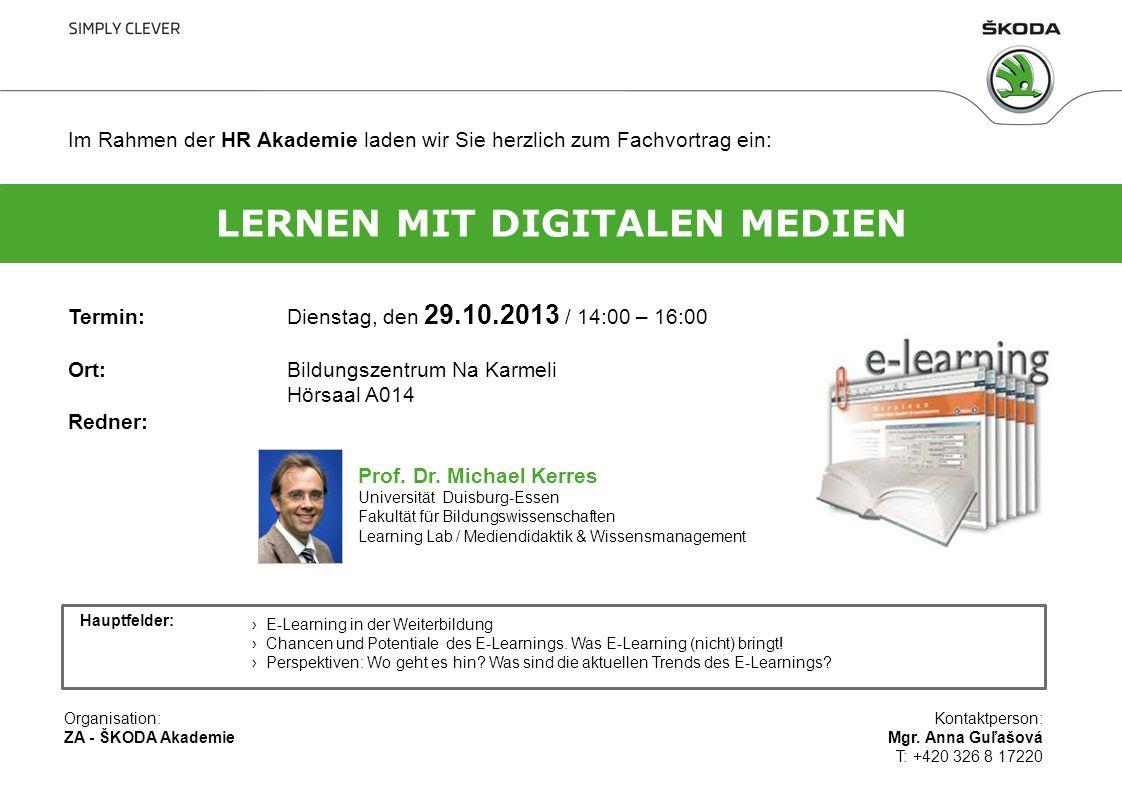 Im Rahmen der HR Akademie laden wir Sie herzlich zum Fachvortrag ein: Termin:Dienstag, den 29.10.2013 / 14:00 – 16:00 Ort:Bildungszentrum Na Karmeli H