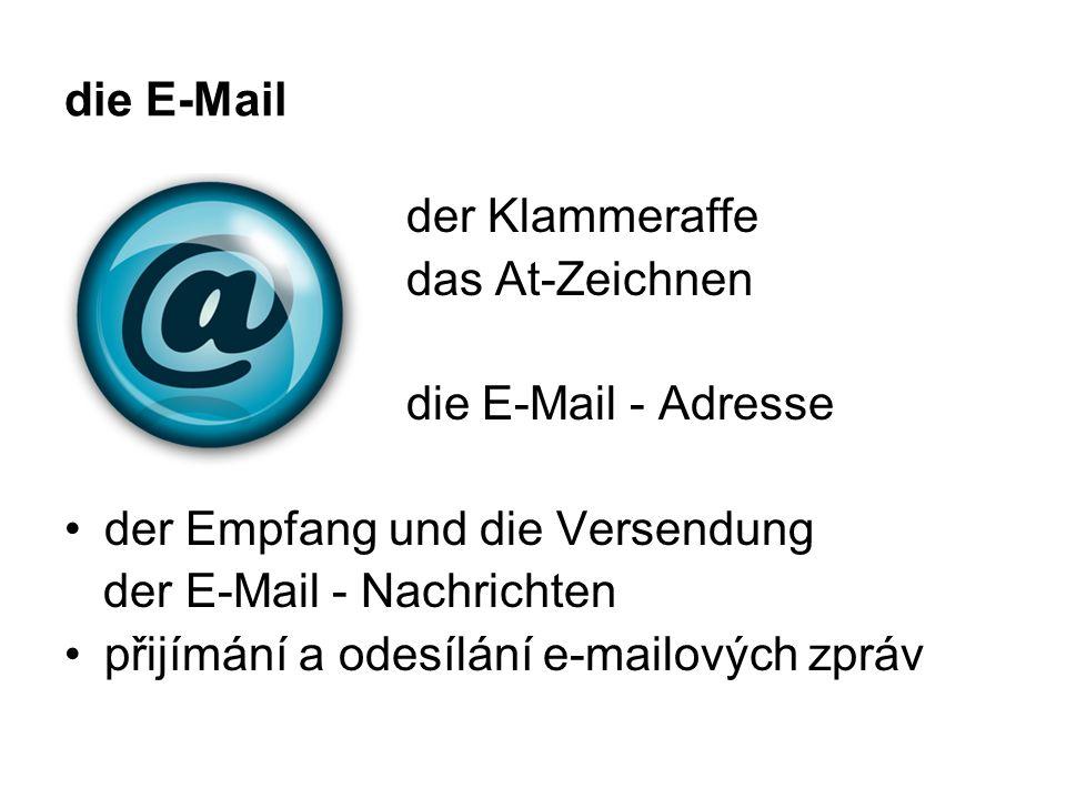 die E-Mail der Klammeraffe das At-Zeichnen die E-Mail - Adresse der Empfang und die Versendung der E-Mail - Nachrichten přijímání a odesílání e-mailových zpráv