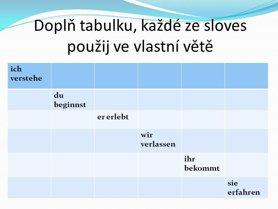 Doplň tabulku, každé ze sloves použij ve vlastní větě ich verstehe du beginnst er erlebt wir verlassen ihr bekommt sie erfahren