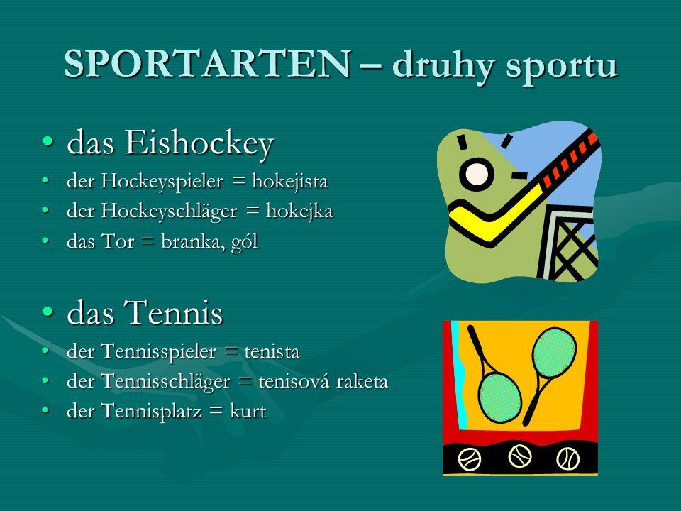 SPORTARTEN – druhy sportu das Eishockeydas Eishockey der Hockeyspieler = hokejistader Hockeyspieler = hokejista der Hockeyschläger = hokejkader Hockeyschläger = hokejka das Tor = branka, góldas Tor = branka, gól das Tennisdas Tennis der Tennisspieler = tenistader Tennisspieler = tenista der Tennisschläger = tenisová raketader Tennisschläger = tenisová raketa der Tennisplatz = kurtder Tennisplatz = kurt