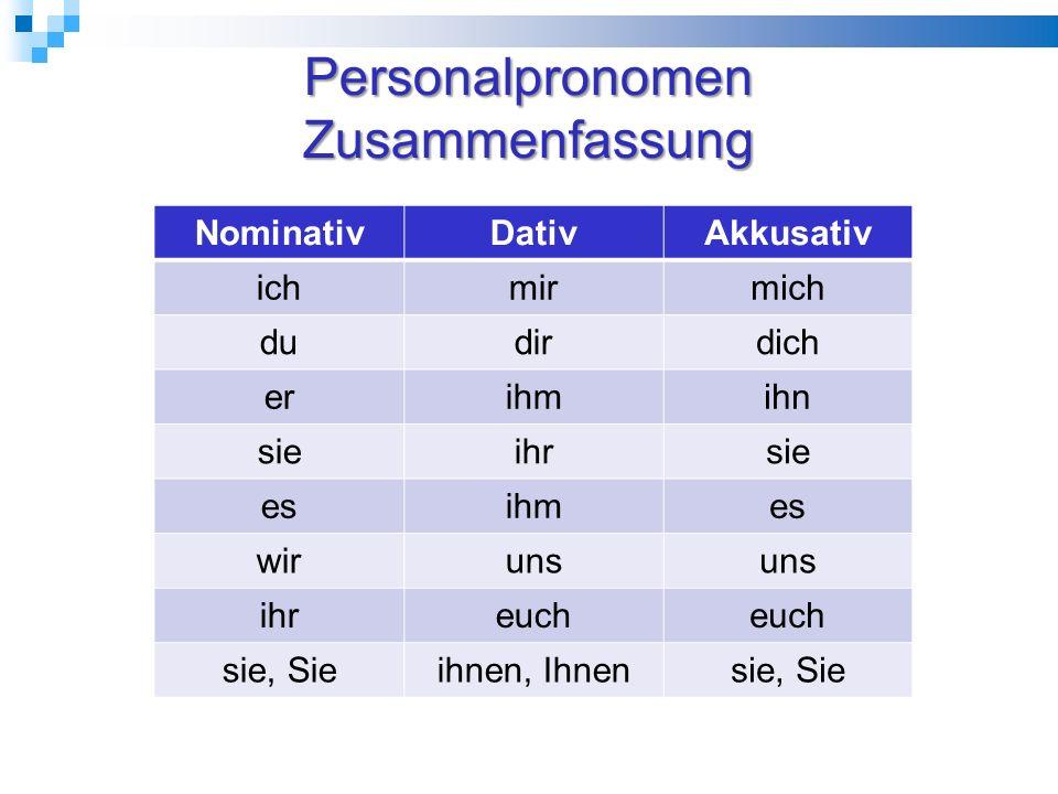 Personalpronomen Zusammenfassung NominativDativAkkusativ ichmirmich dudirdich erihmihn sieihrsie esihmes wiruns ihreuch sie, Sieihnen, Ihnensie, Sie