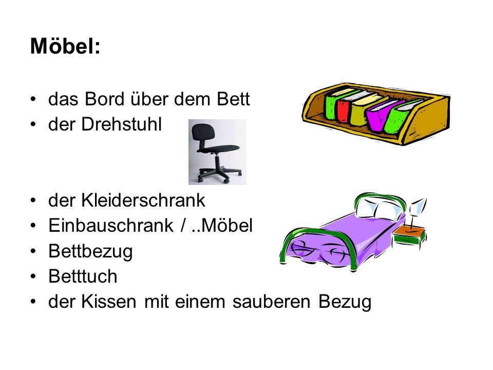 Möbel: das Bord über dem Bett der Drehstuhl der Kleiderschrank Einbauschrank /..Möbel Bettbezug Betttuch der Kissen mit einem sauberen Bezug