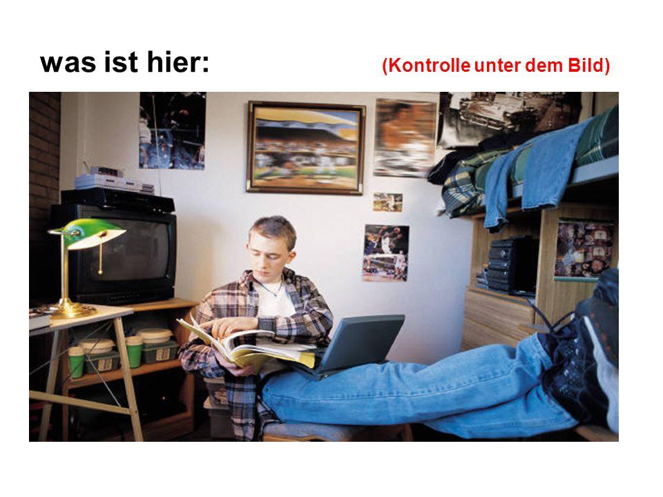 was ist hier: (Kontrolle unter dem Bild) der Fernseher der Computer der Tisch die Wand die Lampe die Möbel - der Schrank, das Regal das Bild die Plakate die Dosen die Decke der Stereoturm der Stuhl