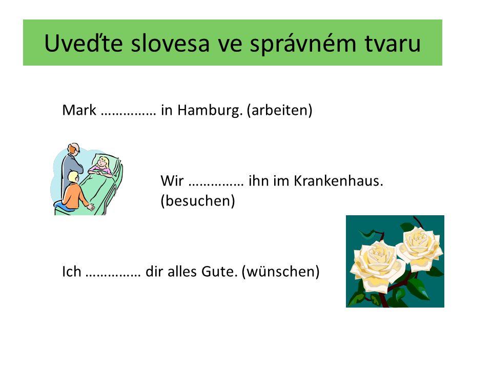 Uveďte slovesa ve správném tvaru Mark arbeitet in Hamburg.