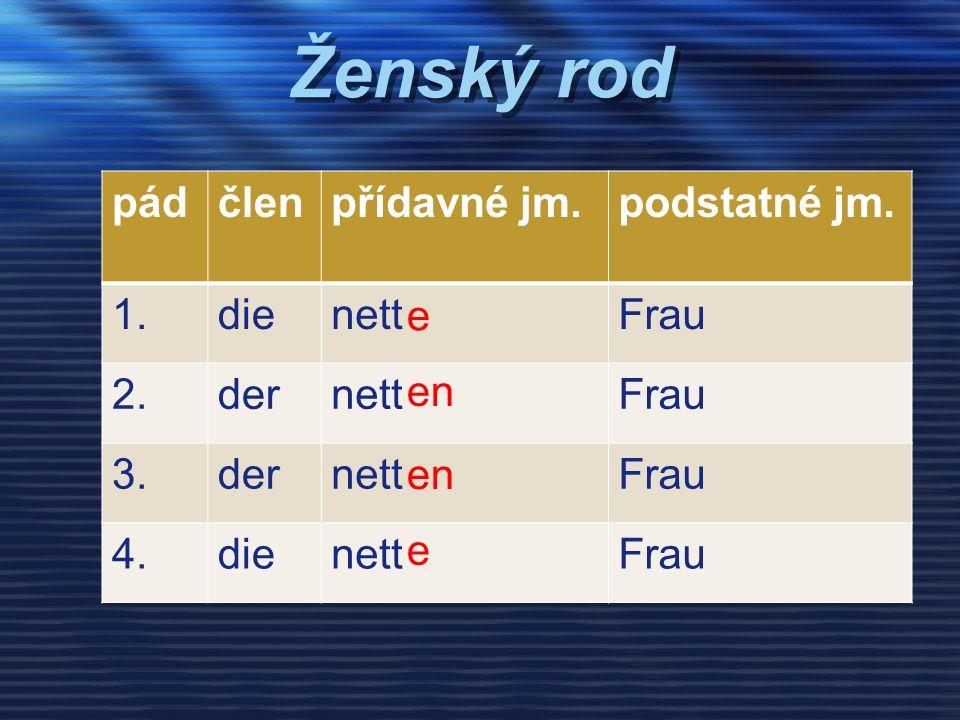 Ženský rod pádčlenpřídavné jm.podstatné jm. 1.dienettFrau 2.dernettFrau 3.dernettFrau 4.dienettFrau e en e